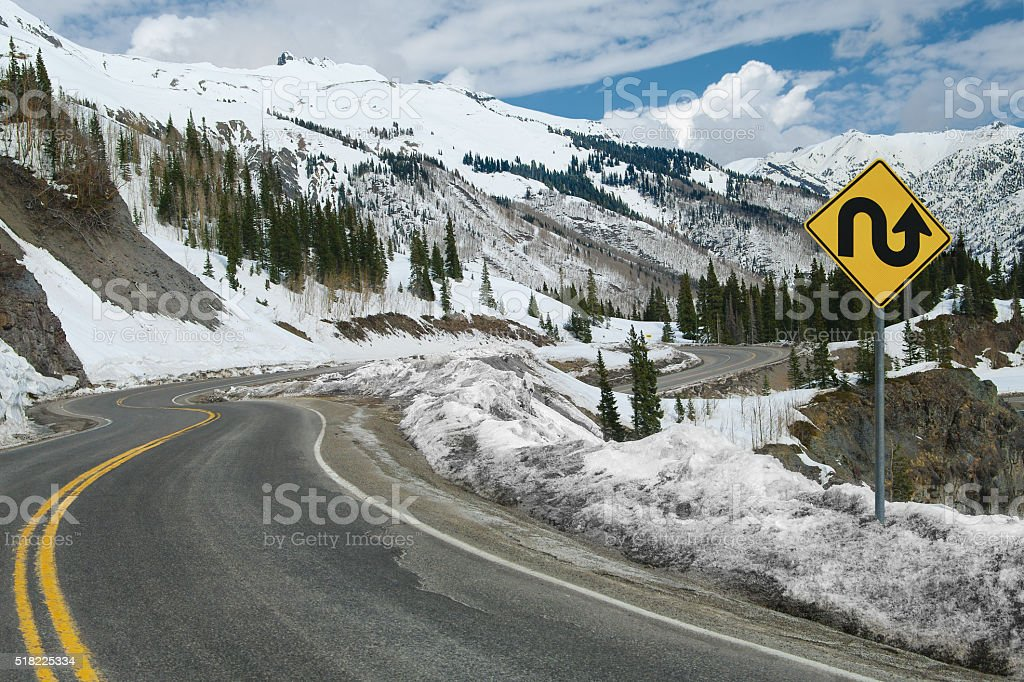 Switchback Road and Sign stock photo