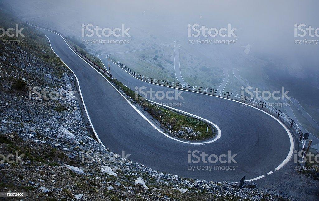 Switchback, Stelvio Pass, Italy stock photo
