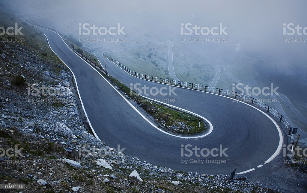 Switchback, Stelvio Pass, Italy stock photo