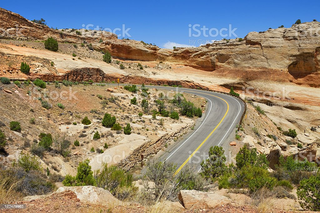 Switchbacks in Colorado National Monument stock photo