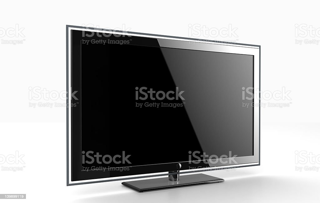 Switched off LED TV in front of white background royalty-free stock photo