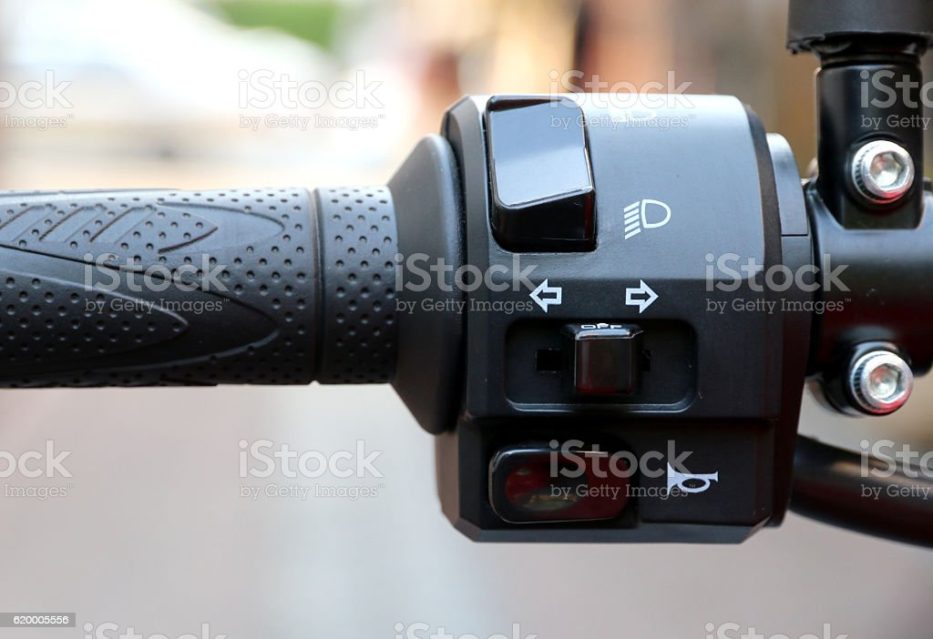 Switches for signals on a motorcycle stock photo