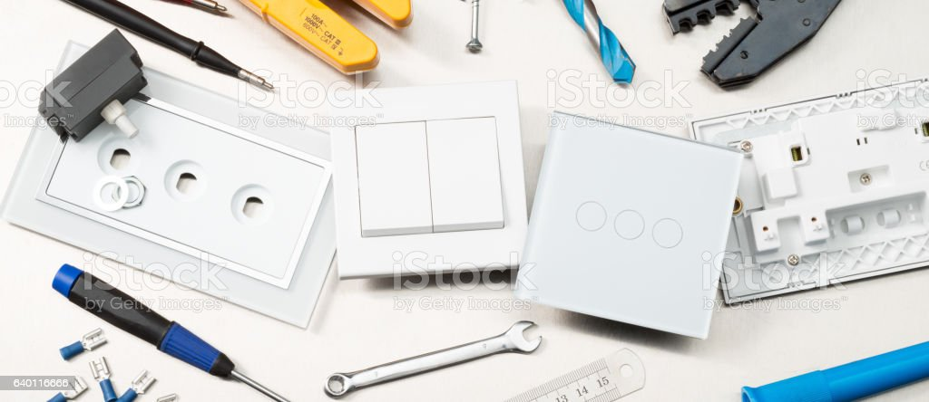 Switches, sockets and tools stock photo