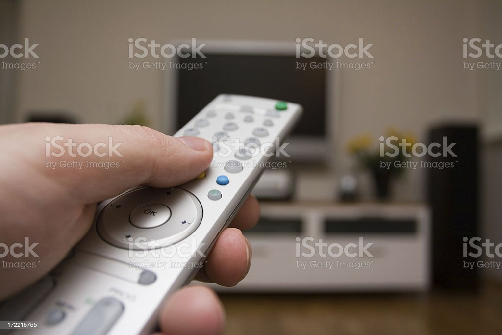 Switching on the tv royalty-free stock photo