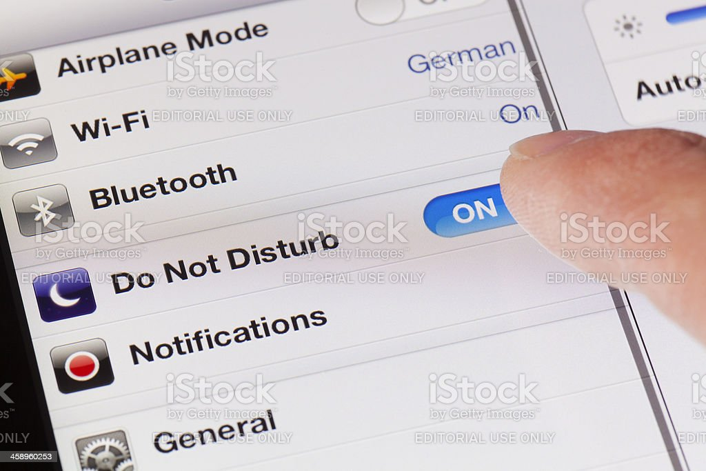 Switching to DND mode on a new ipad with iOS6 stock photo