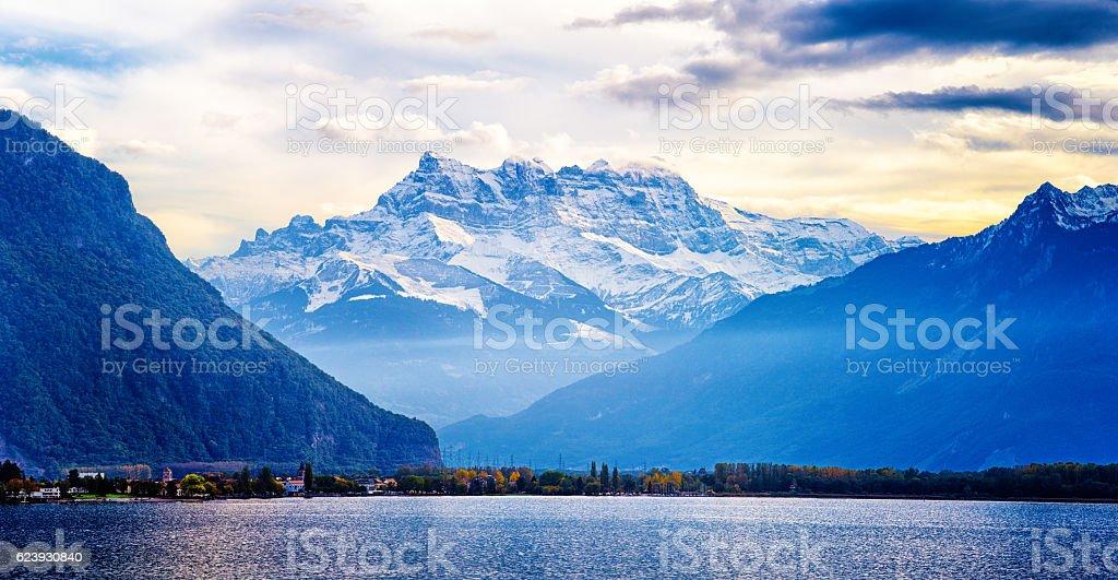 Switzerland Alps panorama at sunset from Lake Geneva stock photo
