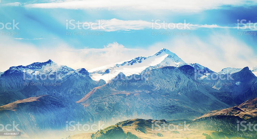 Switzerland Alps panoramic mountain landscape royalty-free stock photo