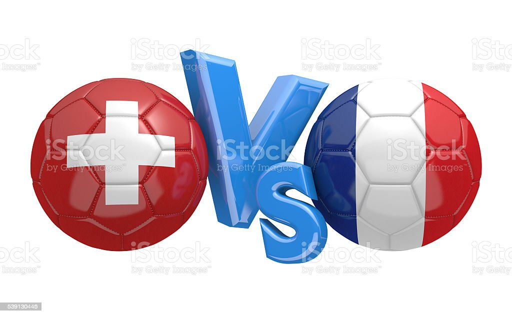 Switzerland and France team balls stock photo