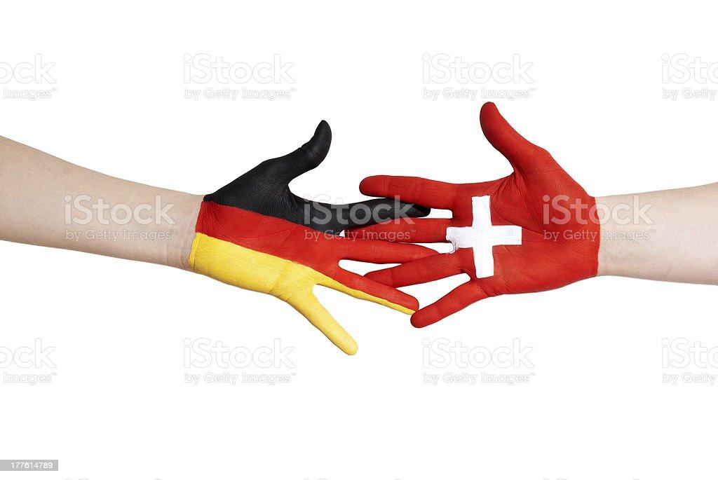 switzerland and germany in partnership royalty-free stock photo