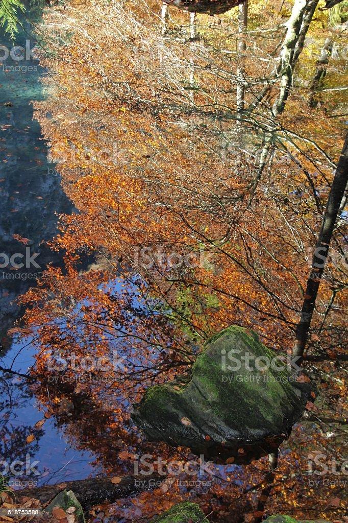 switzerland - autumn in blausee stock photo