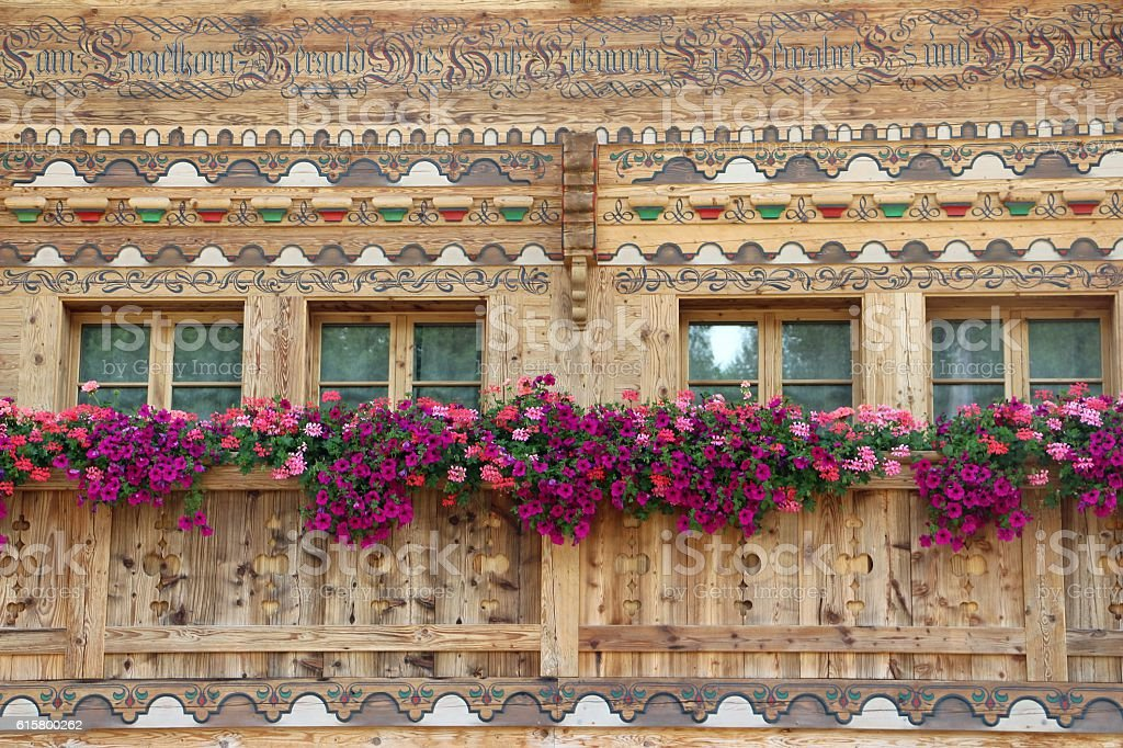 switzerland - detail of a chalet in Gstaad stock photo