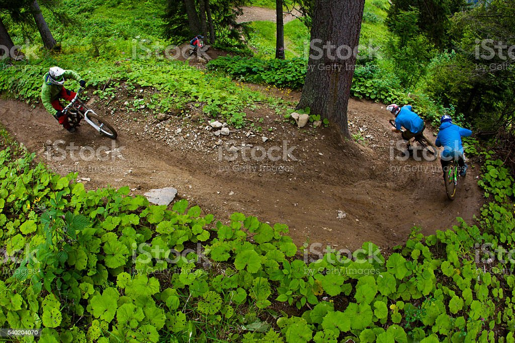 Switzerland Downhill Mountain Biking stock photo
