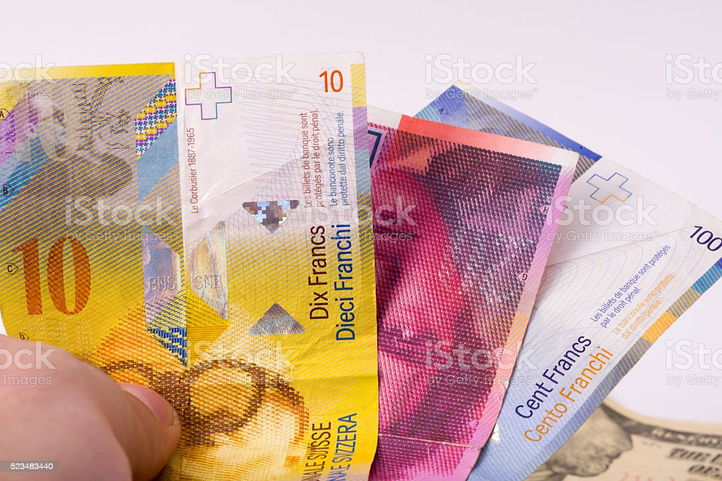 Switzerland Franc - Mini group stock photo