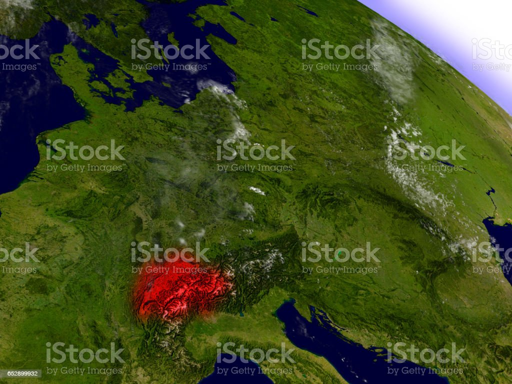 Switzerland from space highlighted in red stock photo