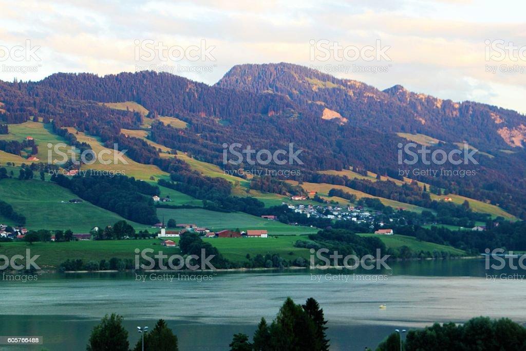 switzerland  - gruyère lake stock photo
