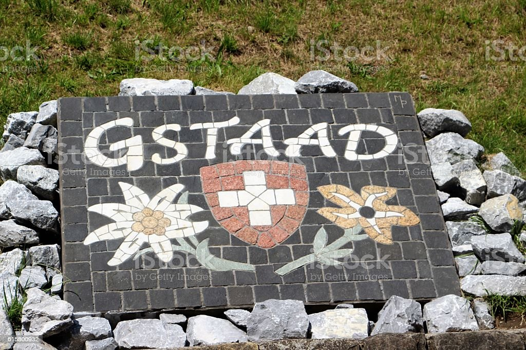 switzerland - gsttad, entrance in the town stock photo
