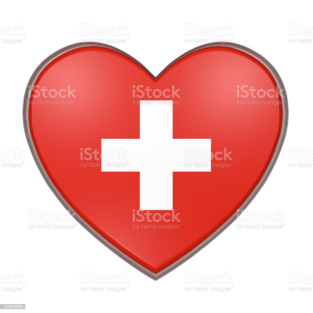 Switzerland heart vector art illustration