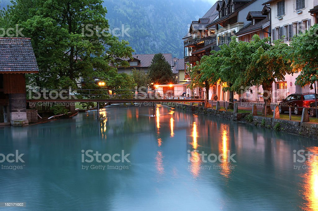 Switzerland, Interlaken. Evening view of a small river stock photo
