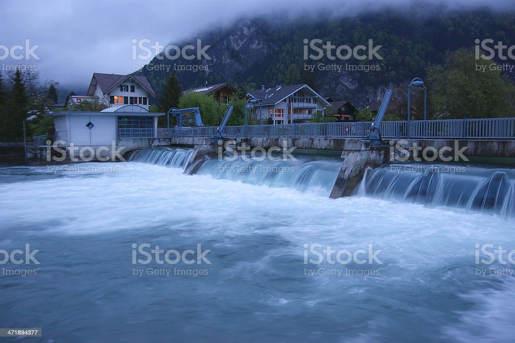 Switzerland, Interlaken. Evening view of the city and river royalty-free stock photo