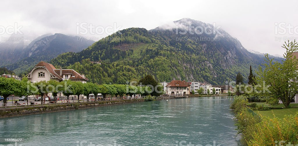 Switzerland, Interlaken. view of a small river in the downtown royalty-free stock photo