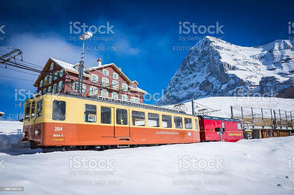 Switzerland Jungfraubahn mountain railway ski hotel chalets below Eiger Alps stock photo