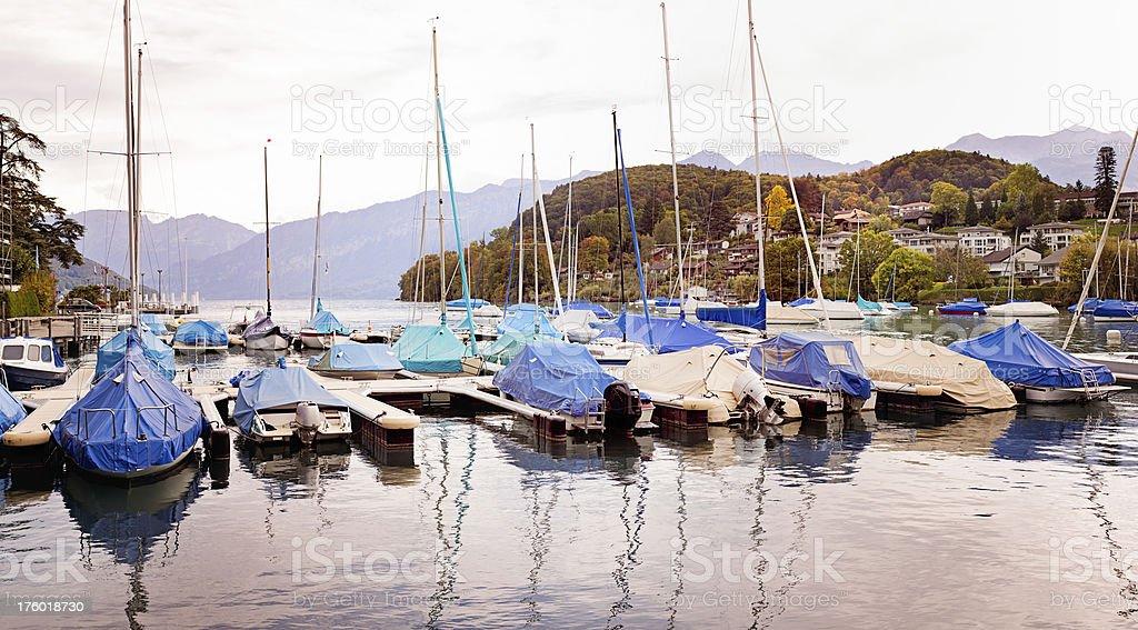 Switzerland: Lake Thun Marina stock photo