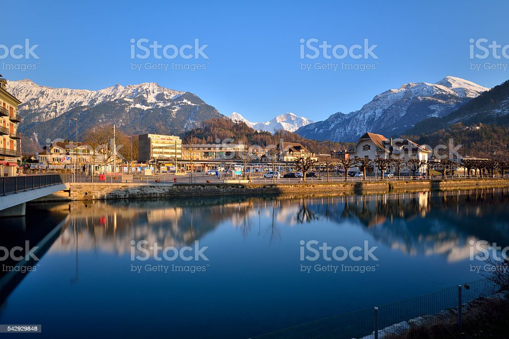 Switzerland Landscape : Aare River of Interlaken stock photo