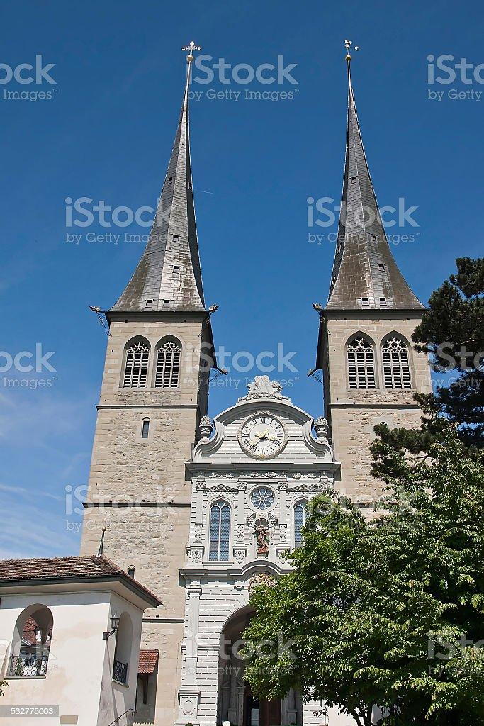 Switzerland - Lucerne, Church of St. Leodegar stock photo