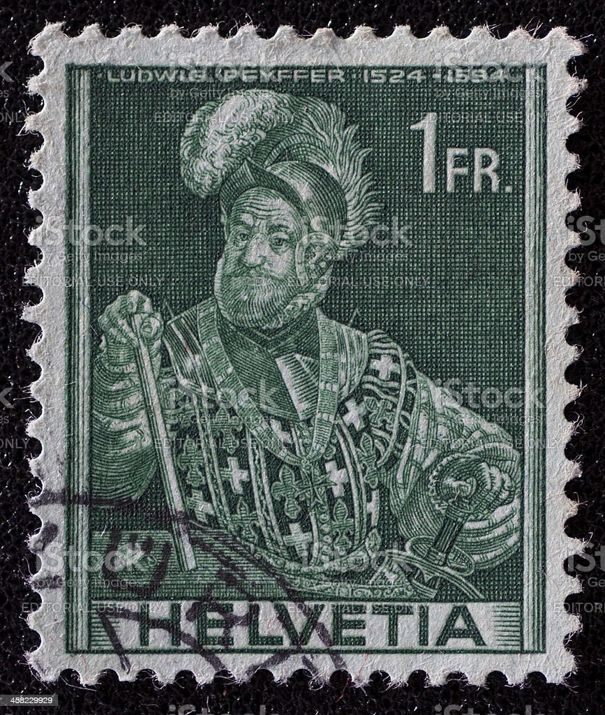 Switzerland Ludwig Pfyffer postage stamp royalty-free stock photo