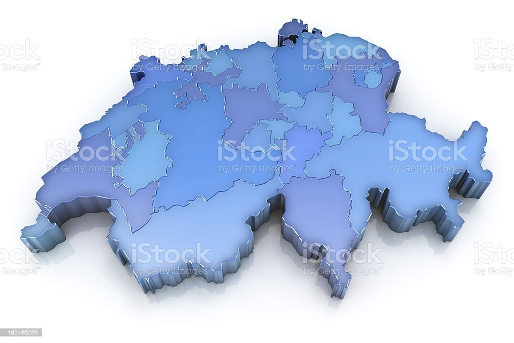 Switzerland map with cantons stock photo