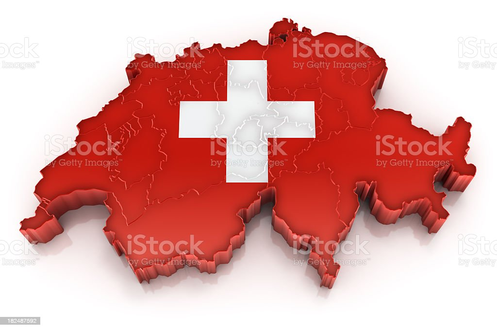 Switzerland map with flag royalty-free stock photo