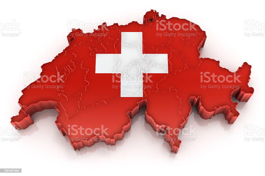 Switzerland map with flag stock photo