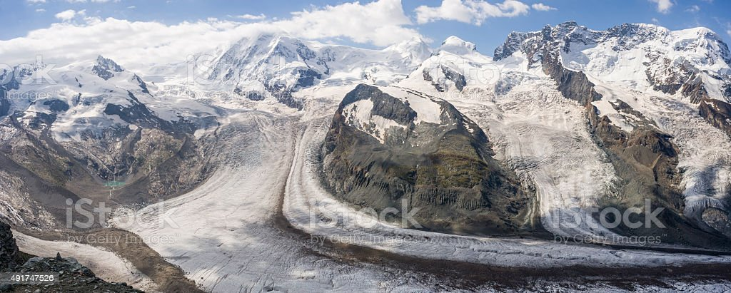 Switzerland. Monte Rosa, Lyskamm, Castor, Pollux, Breithorn and Gornergletscher stock photo