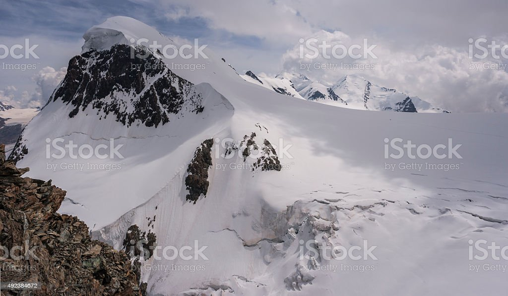 Switzerland. Monte Rosa Massif. From West Breithorn to Castor stock photo