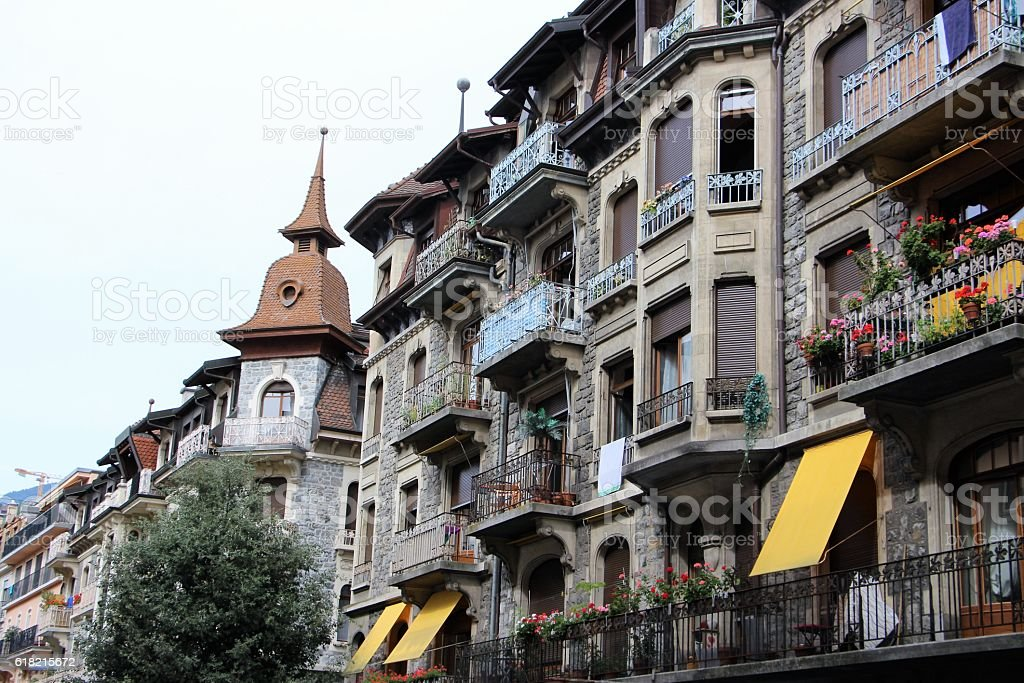 switzerland - montreux, old town stock photo