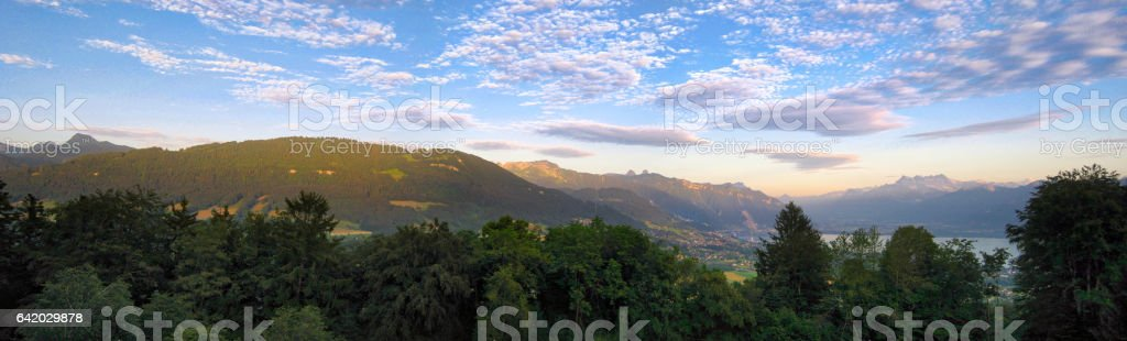 Switzerland Mountains Panorama At Dusk stock photo