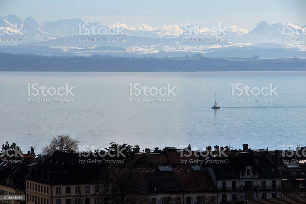switzerland - neuchatel, lake stock photo