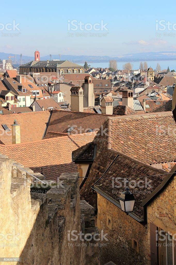 switzerland - neuchatel, old town stock photo