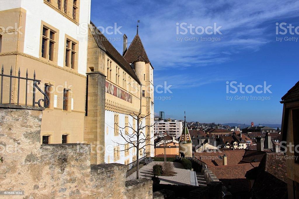switzerland - neuchatel, old town stock photo