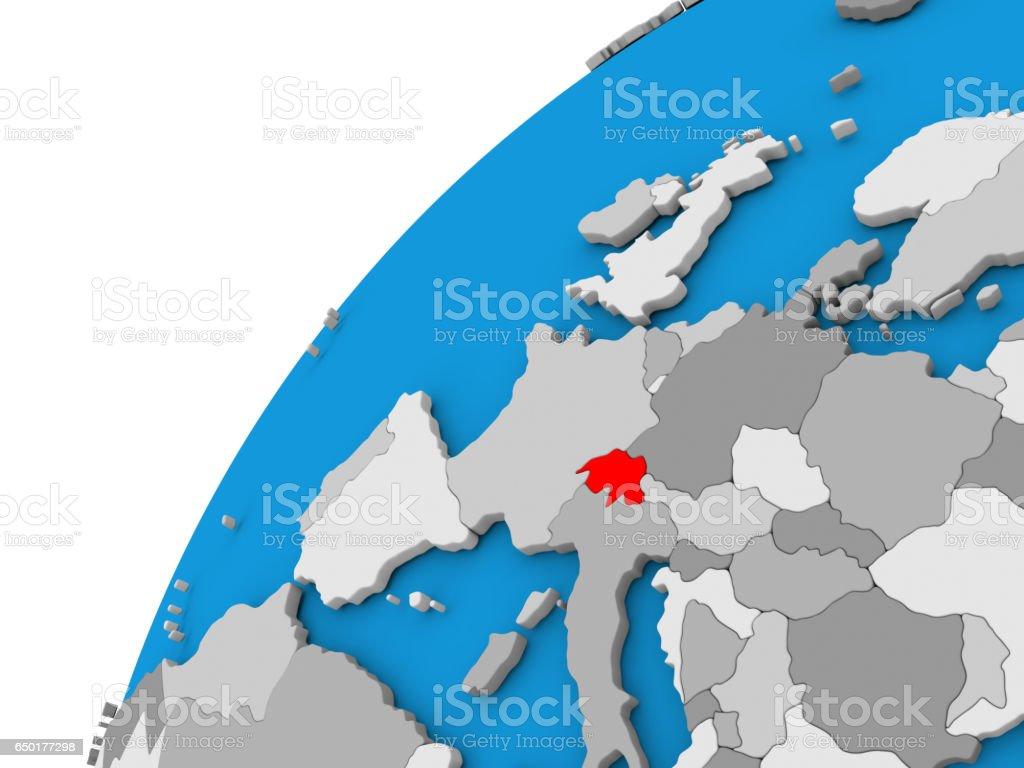 Switzerland on globe in red stock photo