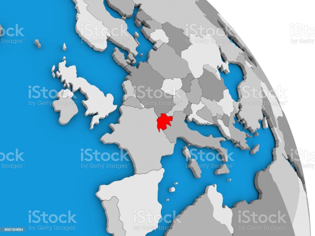 Switzerland on globe stock photo