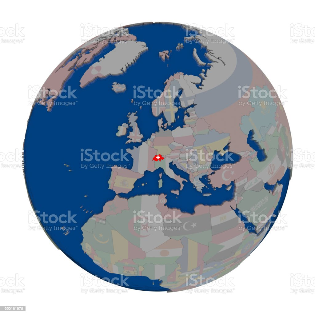 Switzerland on political globe stock photo