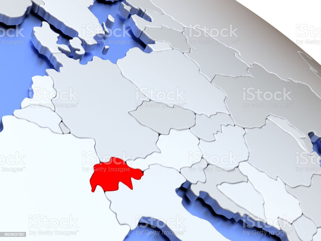 Switzerland on world map stock photo