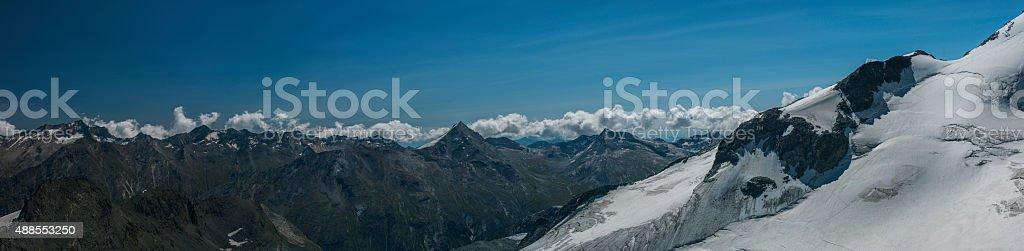 Switzerland. Saas Valley. Overlook from Mittelallalin stock photo