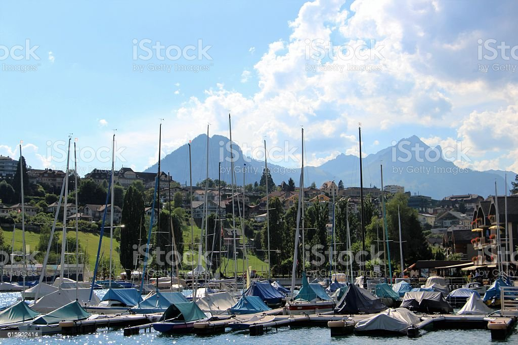 switzerland - spiez, boat near the lake stock photo