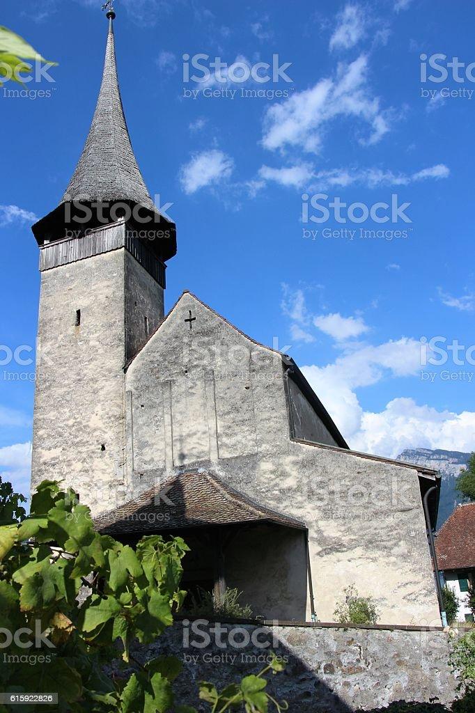 switzerland - spiez, church near castel stock photo