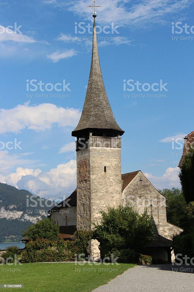 switzerland - spiez, church near the castel stock photo