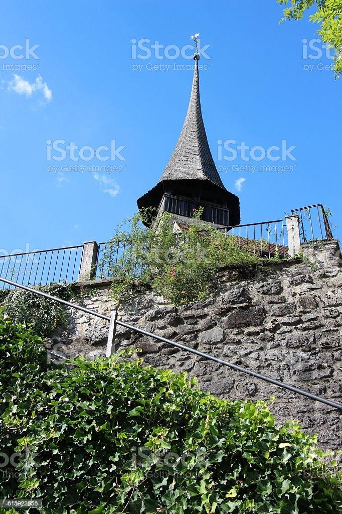 switzerland - spiez, clocher de l'eglise stock photo