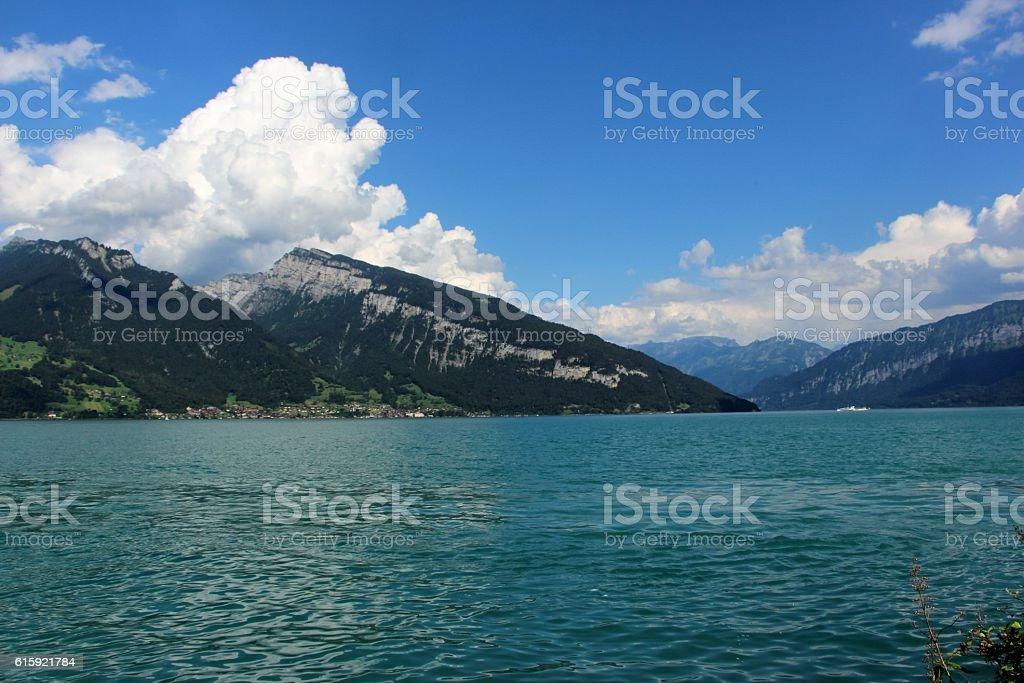 switzerland - spiez, lac de thoune stock photo