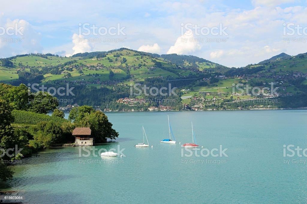 switzerland - spiez, lac de thun stock photo